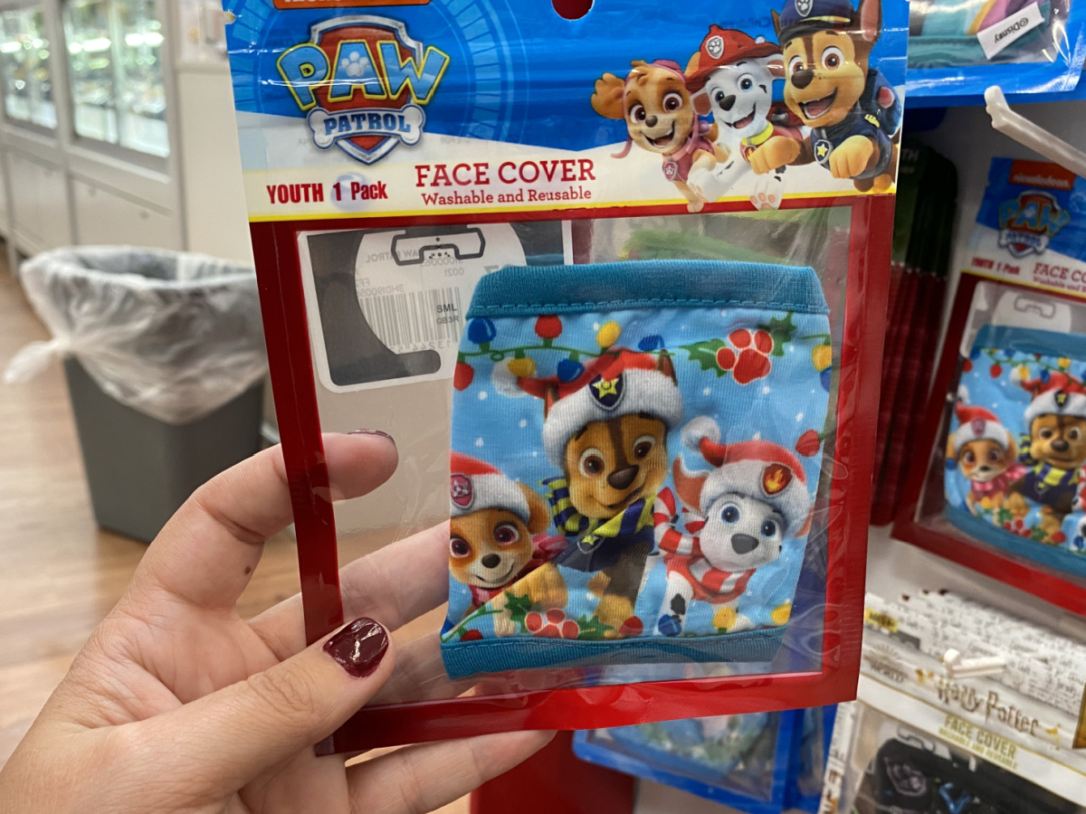 Paw Patrol themed face mask in packaging