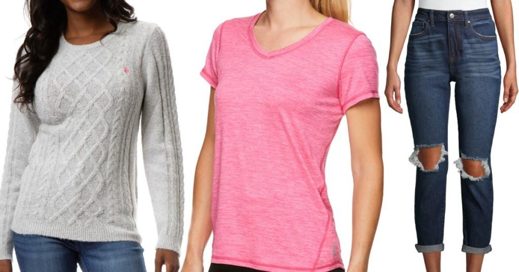 stok gambar wanita yang mengenakan sweter, kemeja dan jeans