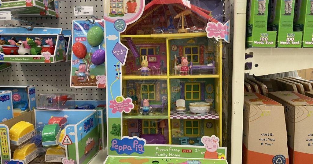 Peppa Pig Playset on a shelf at Target