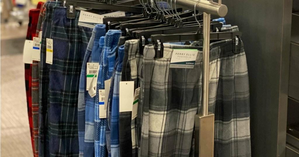 Perry Ellis Pajama Pants hanging on rack
