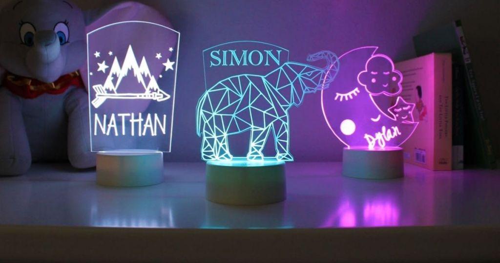 three personalized kids night lights