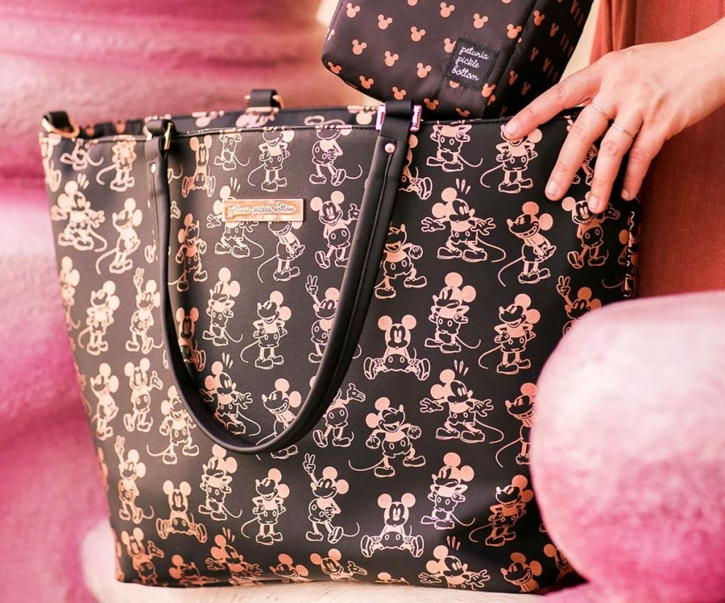 large black tote back with rose gold metallic mickey mouse print