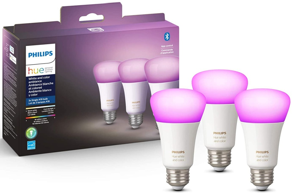 Philips Hue White and Color Ambiance 3-Pack A19 LED Smart Bulbs