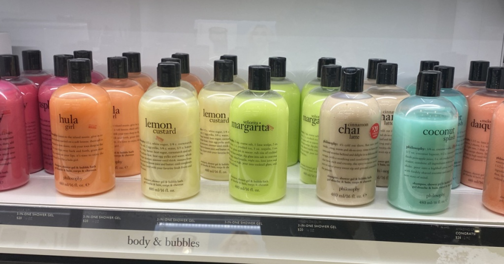 multiple bottles of philosphy body wash in store at macys