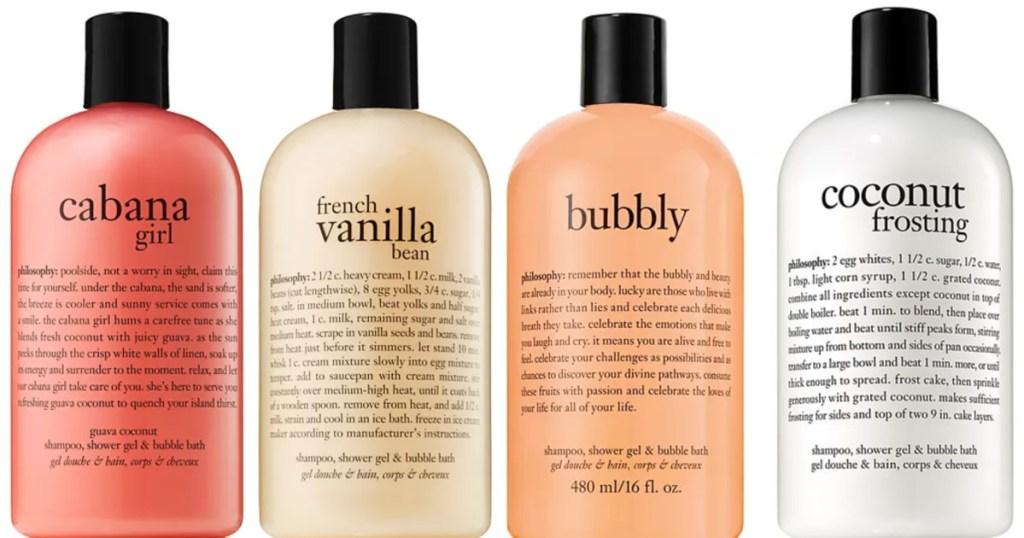 4 philosophy shower gel bottles
