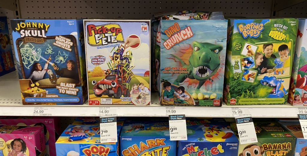 games on a shelf at Target