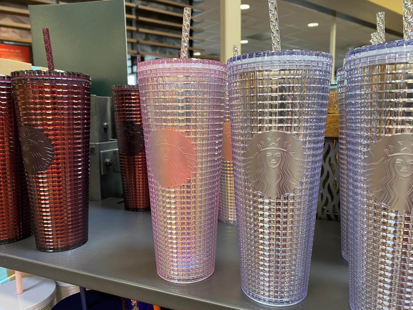 Pink Grip Starbucks Tumbler shown on shelf in store
