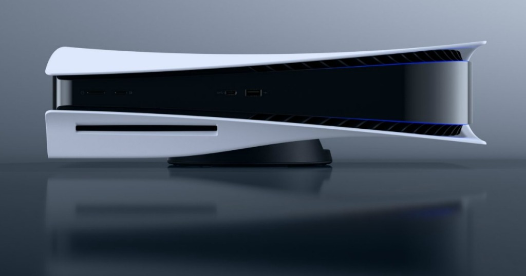 Large next gen console system on gray background