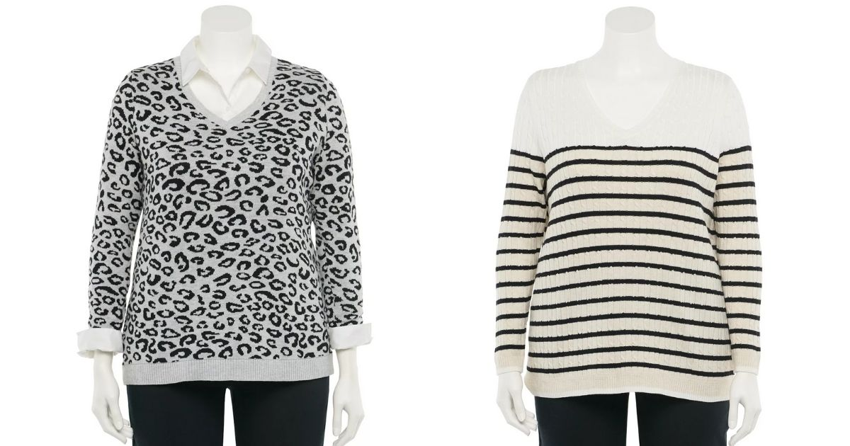 Leopard and Striped Plus Size Croft & Barrow The Classic V-Neck Sweater