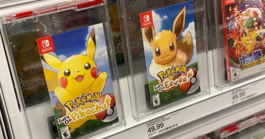 two pokemon video games on shelf
