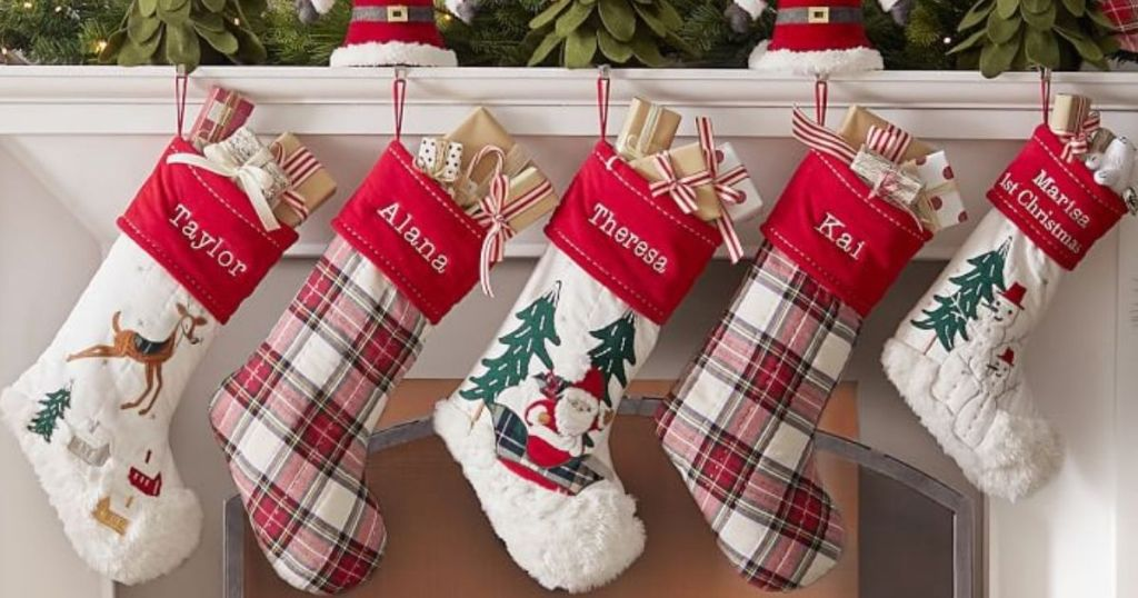 Potter Barn Heritage Collection Stockings Hanging on mantel