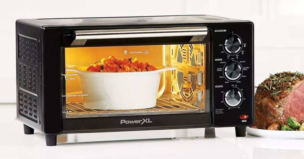 Power XL Toaster Oven with food in and next to it