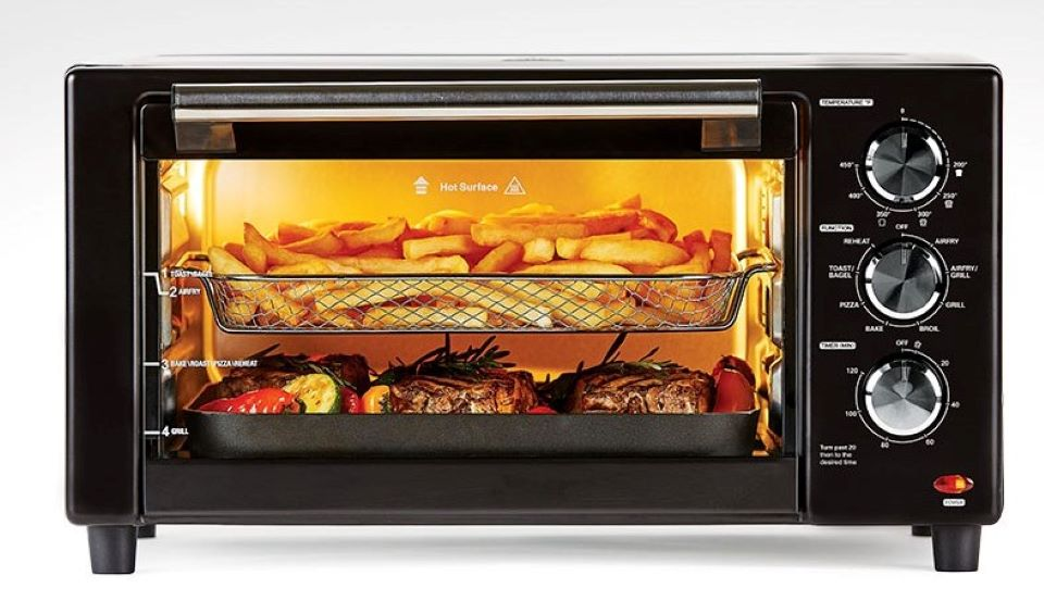 toaster oven with food in it