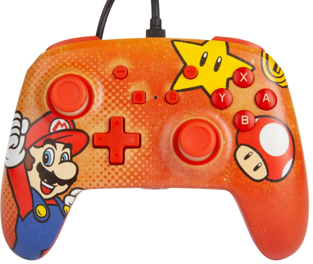 red nintendo switch controller with mario, star, and mushroom on it
