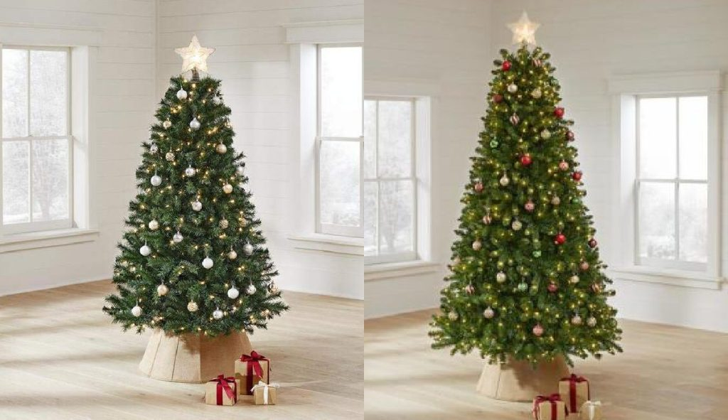 two lit Christmas trees with presents in home