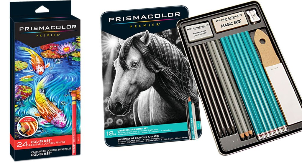 sets of prismacolor colored pencils and graphic drawing set in tin