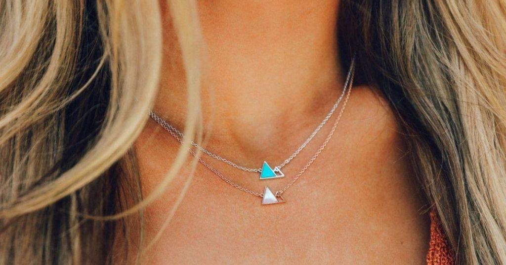 1 Pura Vida Necklaces on a female's neck
