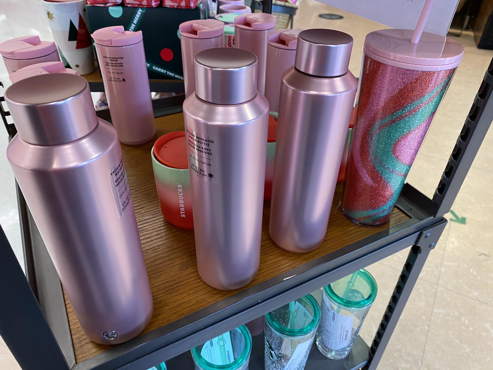 Purple Water Bottle on Starbucks display