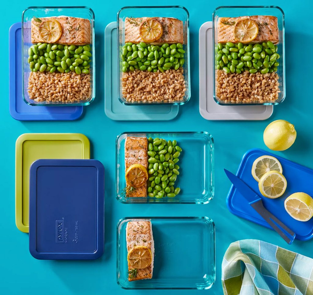 rectangular glass pyrex dishes with salmon meals inside on a blue background