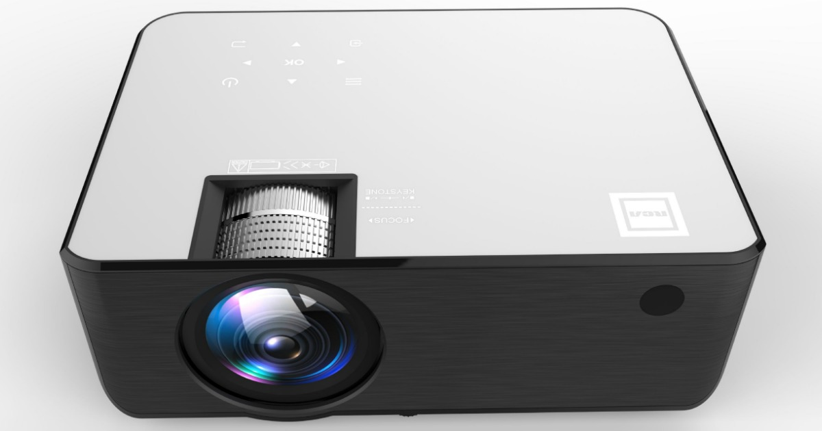 Large Smart Home projector on gray background