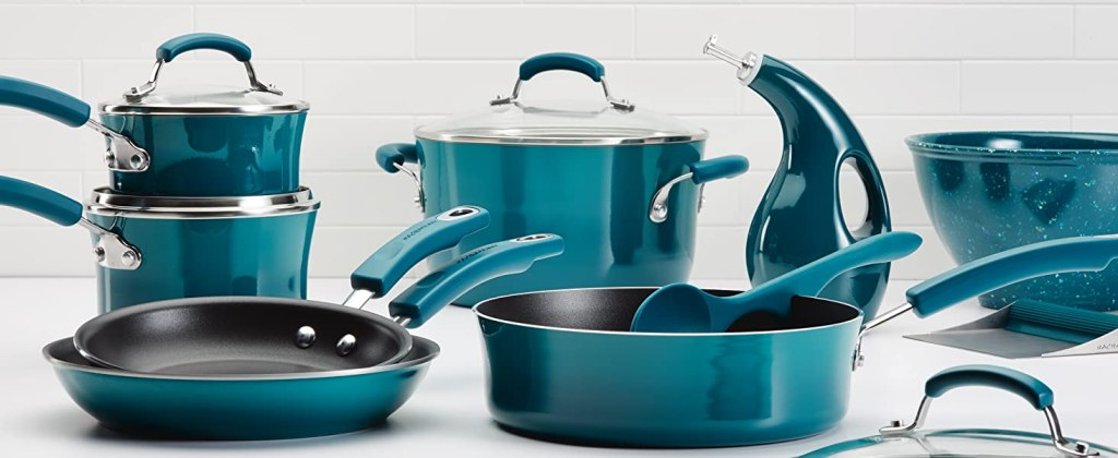 Rachael Ray 14-piece Brights cookware