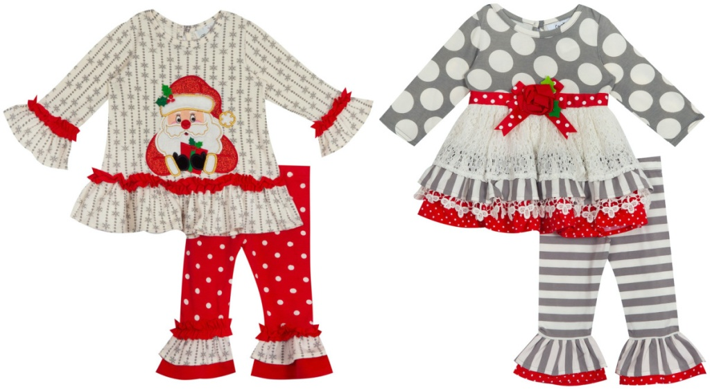 two baby girl holiday-themed clothing sets