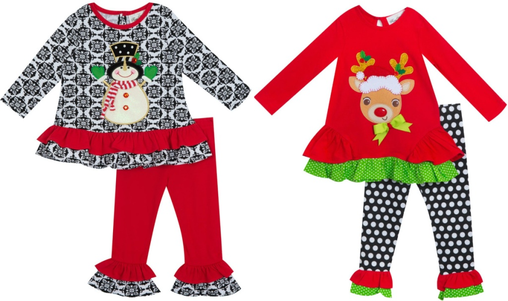 two toddler girl holiday-themed clothing sets