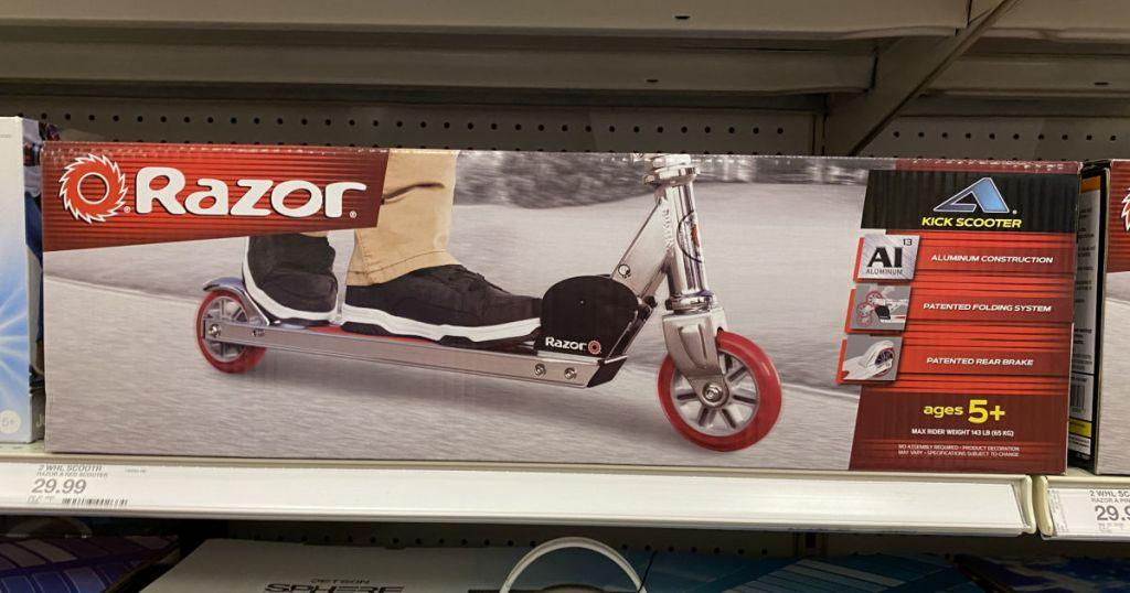 razor scooter on shelf