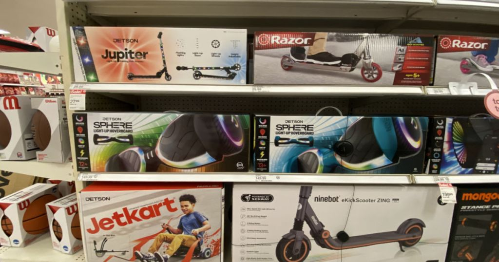 razor scooters on shelf at Target