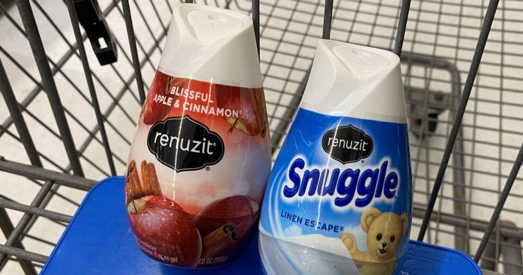 two Renuzit air fresheners in a cart