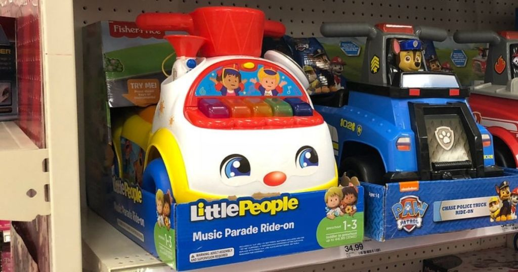 Ride on toys on shelf at Target