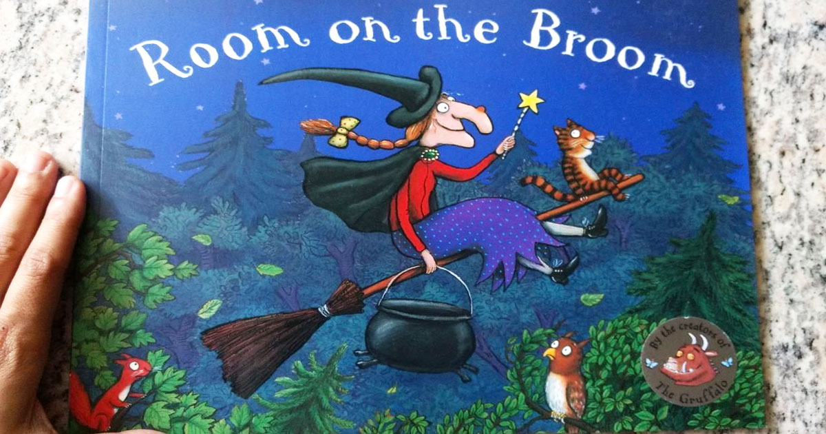cover for room on the broom kids book on countertop