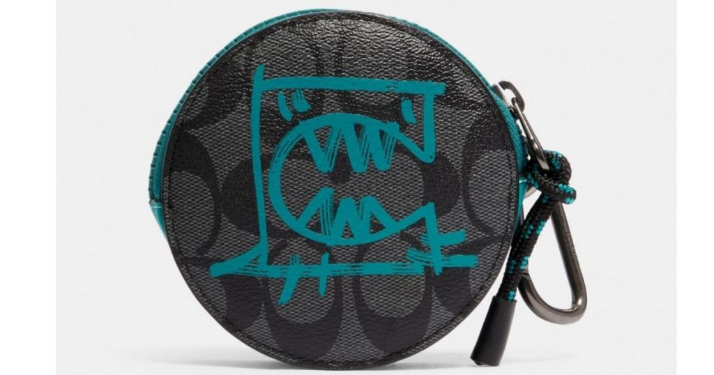 Coach Round Hybrid Pouch In Signature Canvas With Rexy