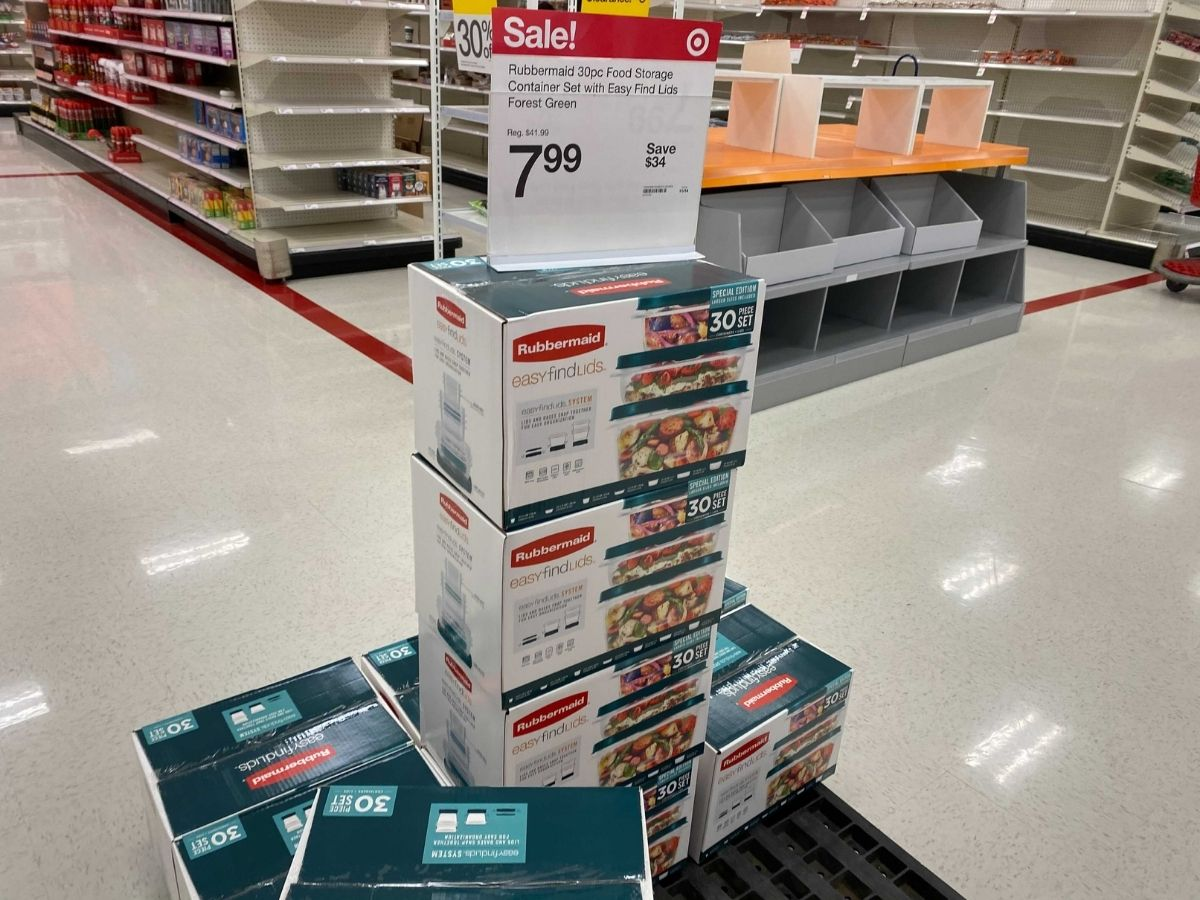 Rubbermaid 30-piece storage set on display in store