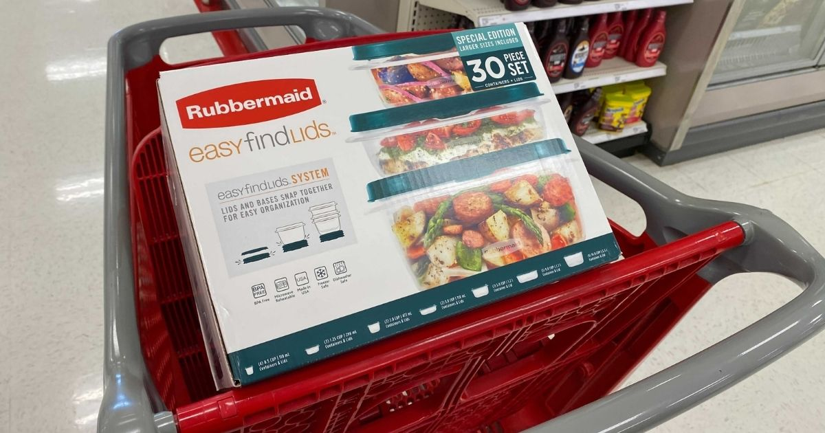 Rubbermaid 30-piece set in Target shopping cart