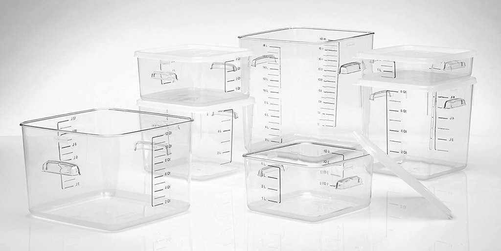 group of Rubbermaid containers