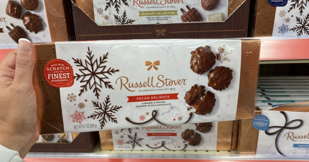 hand holding russell stover