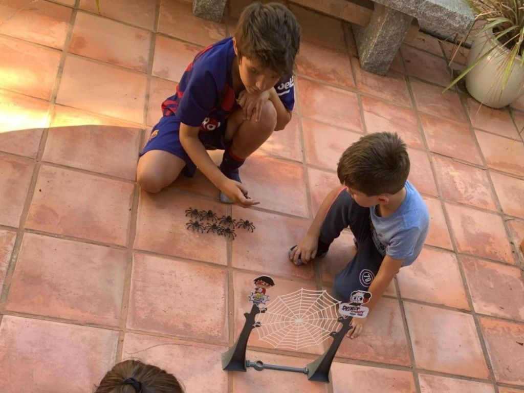 boys playing with spider game