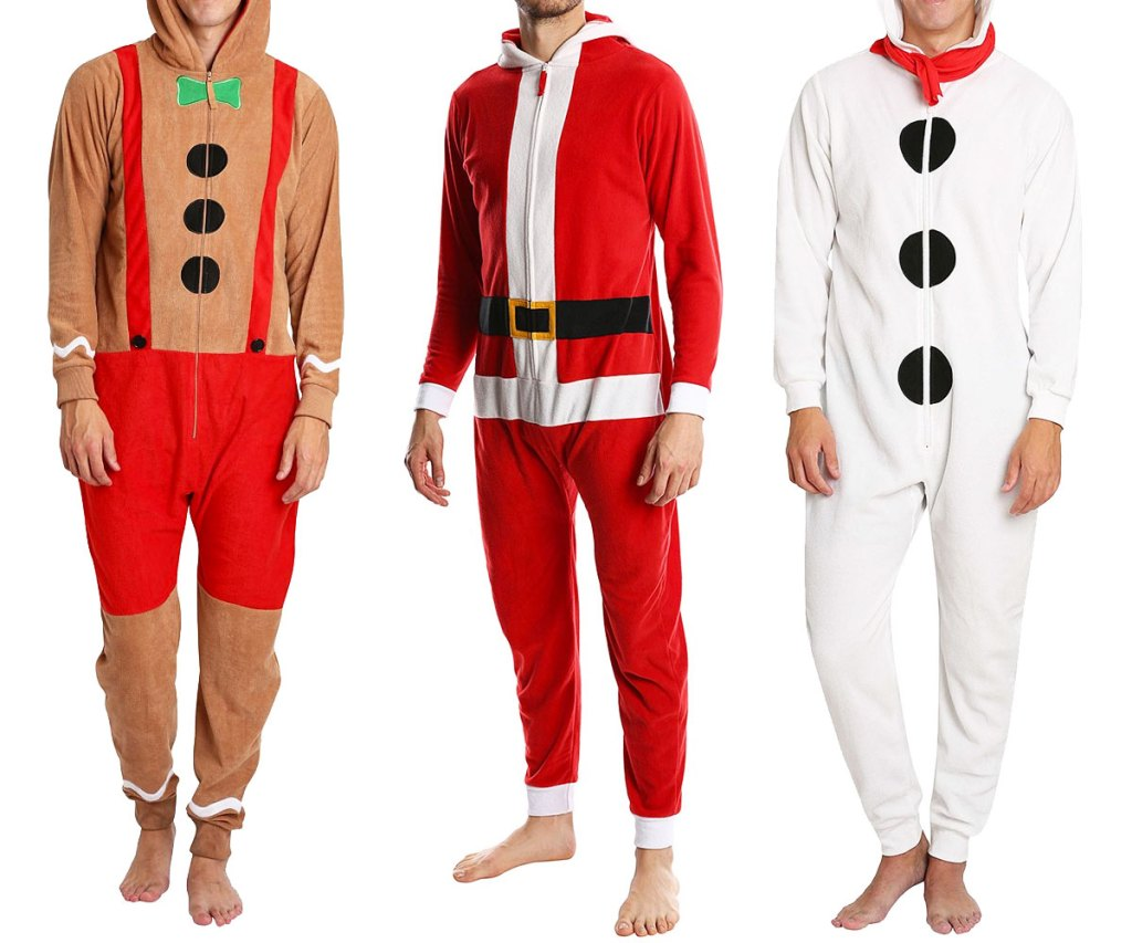 men wearing christmas themed one-piece pajamas in gingerbread man, santa, and snowman prints