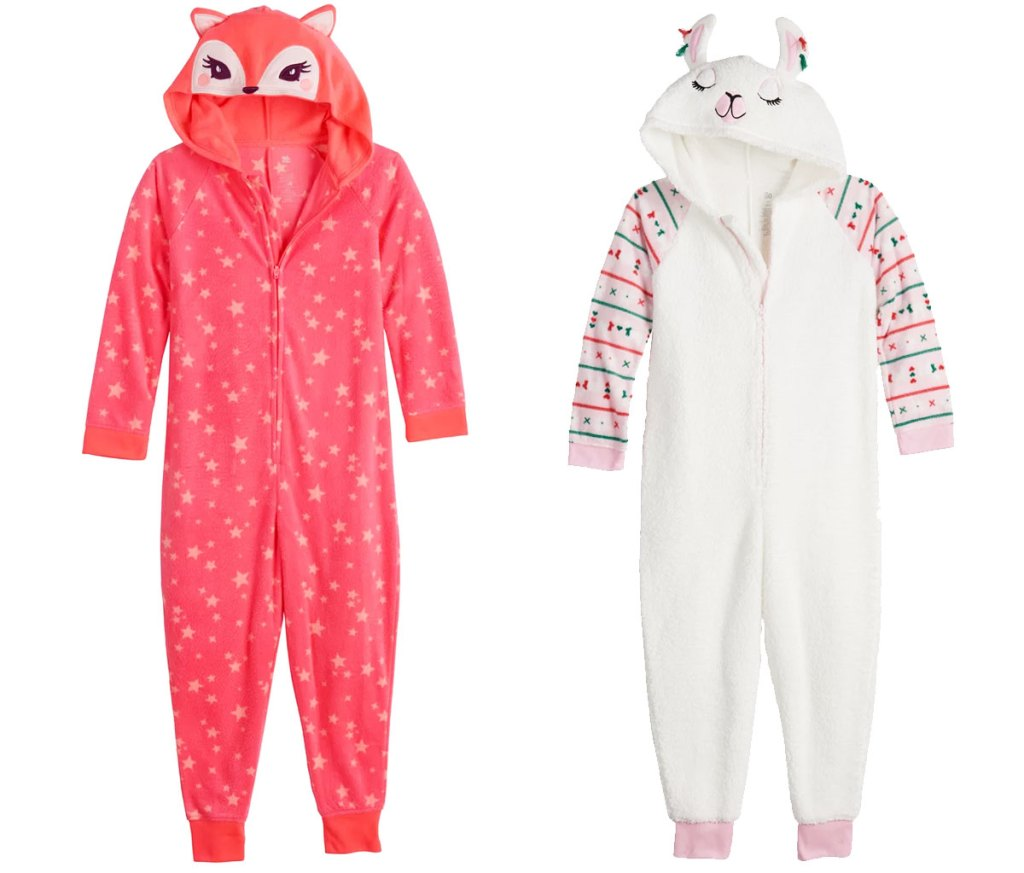 two girls hooded one-piece pajamas in pink fox and white llama styles