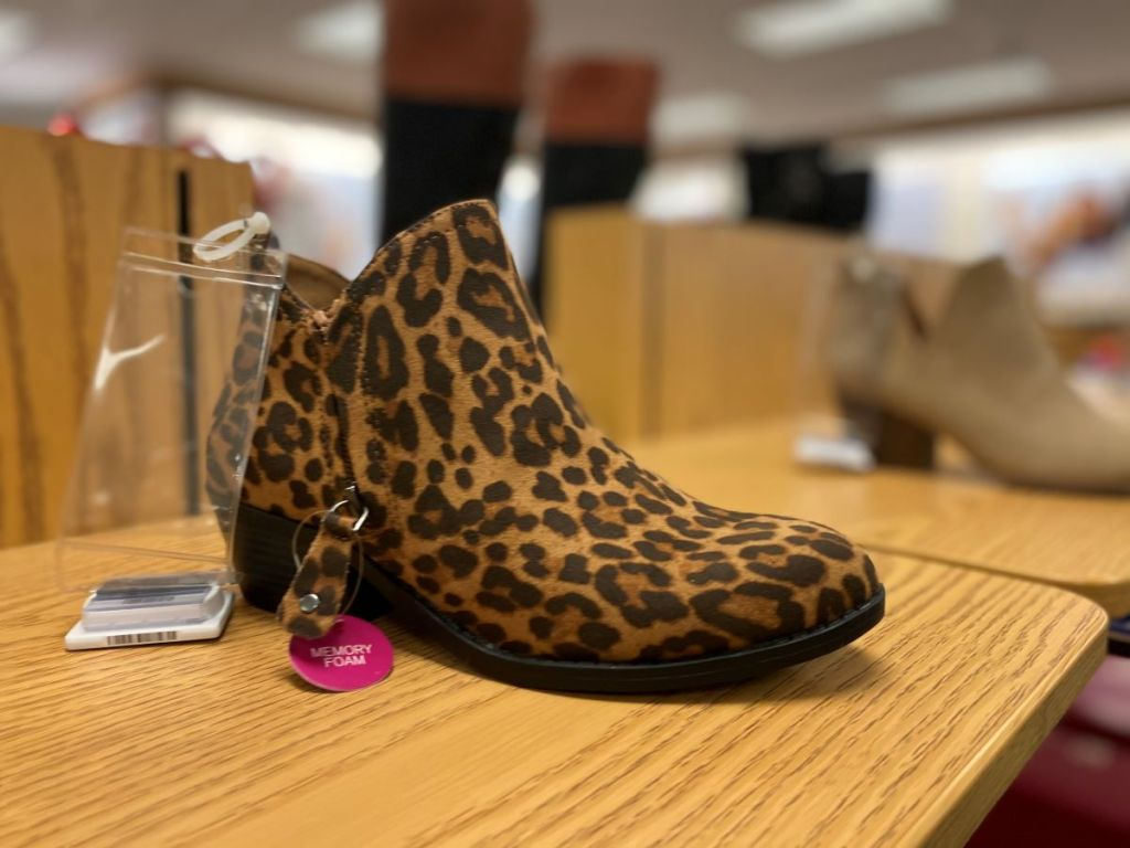 leopard print boot on the shelf at Kohl's