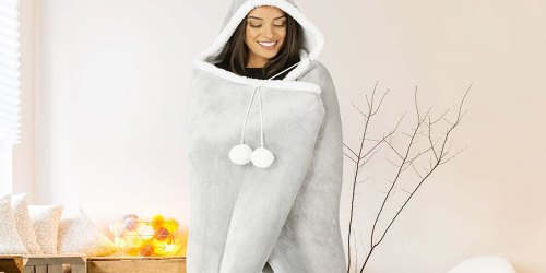 Sherpa Hooded Blankets w/ Pockets from $16.99 Each Shipped on Zulily (Regularly $60)