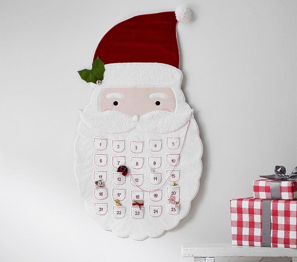 Santa Advent calendar hanging on the wall