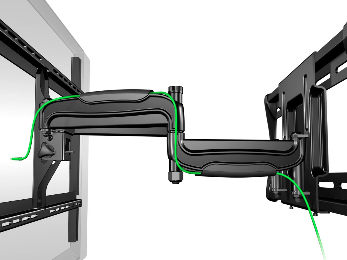 close up stock image of tv wall mount hardware