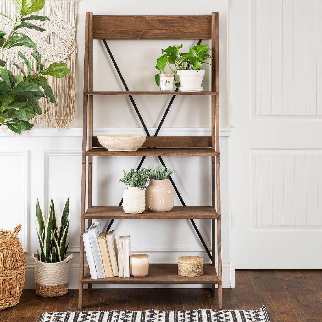 bookshelf with plants on it