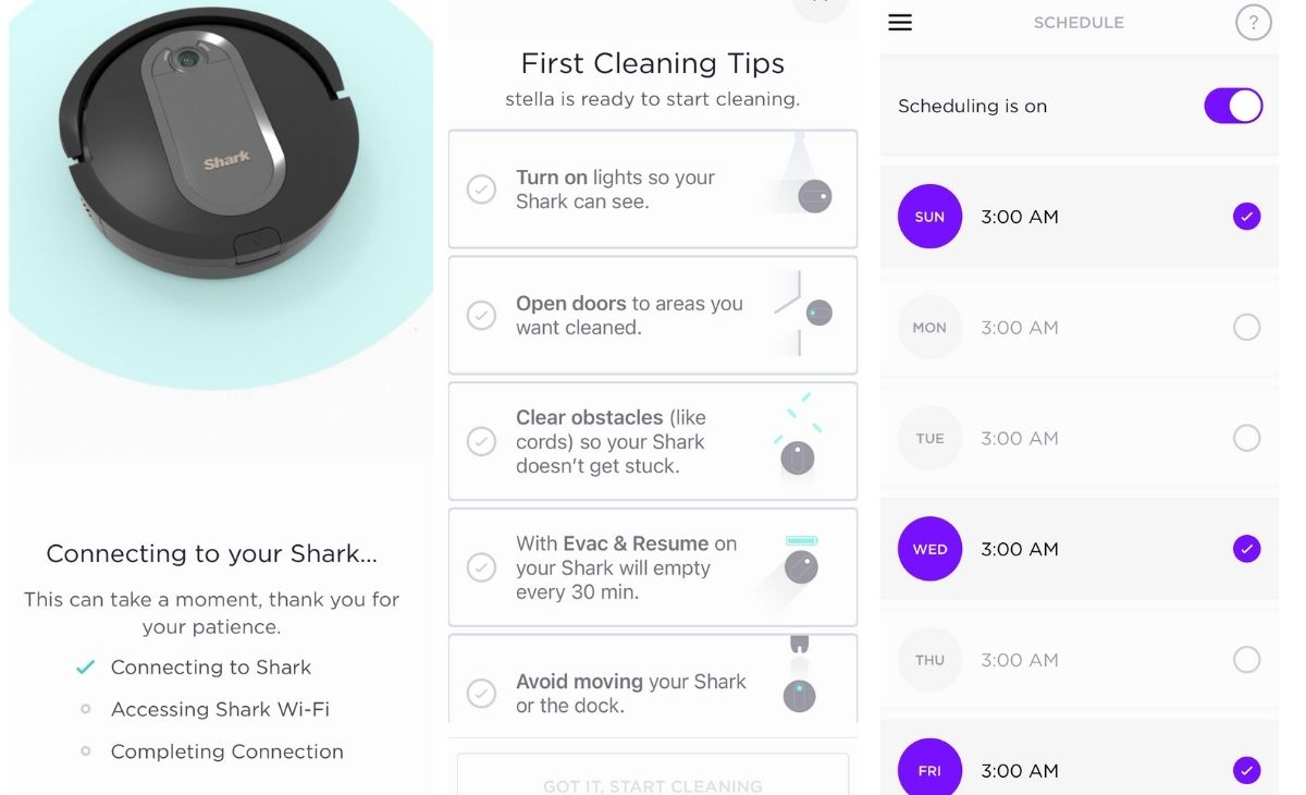 Vacuum setup instructions from the SharkClean app