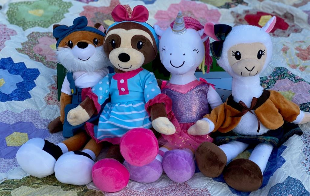 group of plush toys sitting together