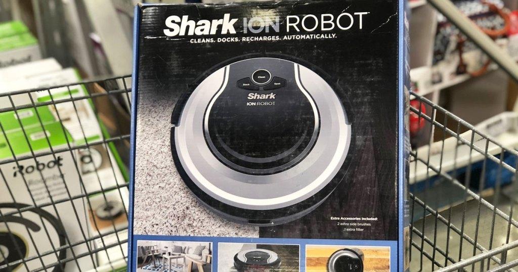 shark ion robotic vacuum in a shopping cart