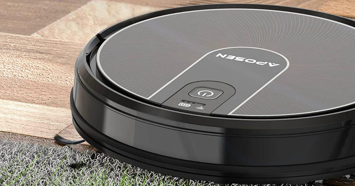 Large black robotic vacuum