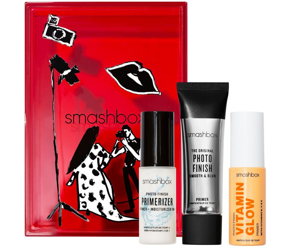 three trvel size Smashbox makeup primers with a red gift box